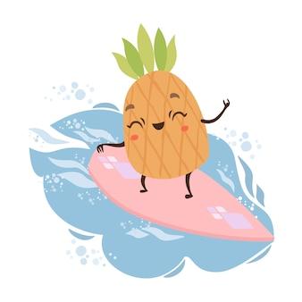 Cute pineapple on a surf