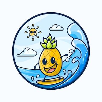 Симпатичный ананас серфинг в море летние сезоны