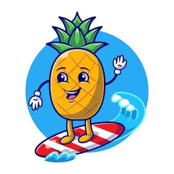 Симпатичный ананас, серфинг на море