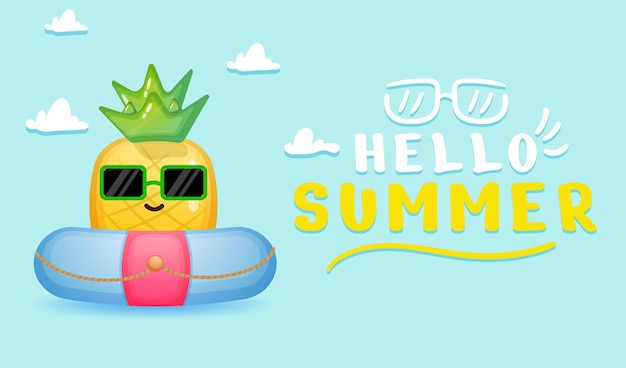Cute pineapple in swimming buoy with summer greeting banner