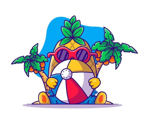 Cute pineapple with beach ball cartoon illustration