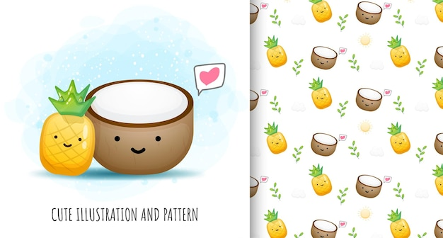 Cute pineapple with coconut illustration and pattern