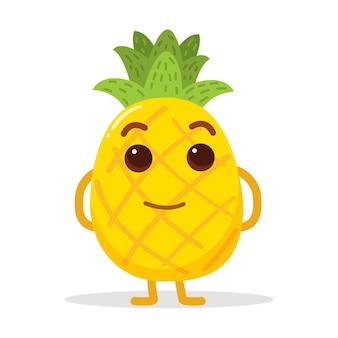 ポスターのウェブサイトなどに適したクールなポーズのかわいいパイナップル