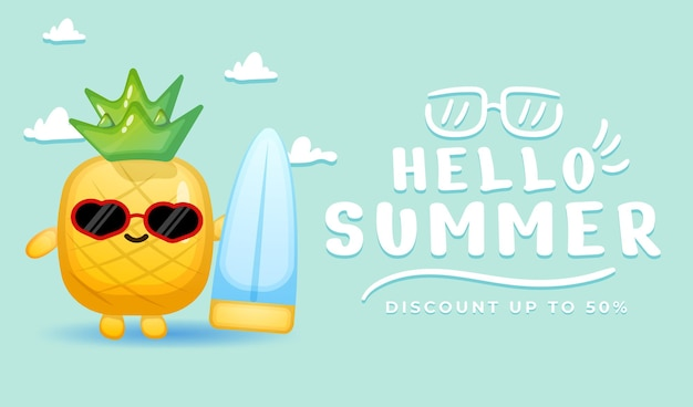 Cute pineapple with summer greeting banner