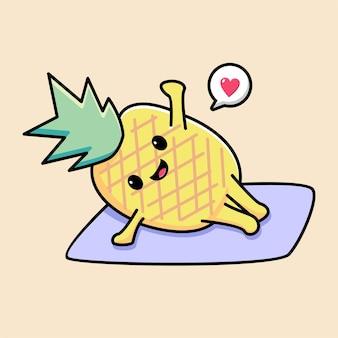 Cute pineapple yoga cartoon illustration
