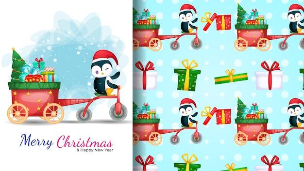 三輪車を運転するかわいいペンギン。クリスマスの日のイラストとシームレスなパターン。