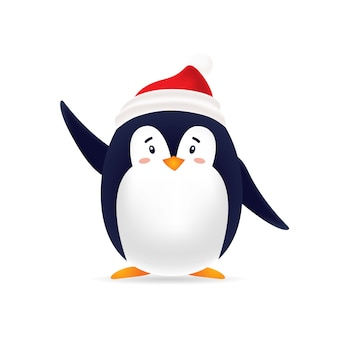 Cute pinguin with red cap