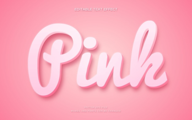 Cute pink 3d text style effect