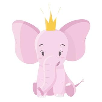 王冠とかわいいピンクの赤ちゃん象。子供たちのアイテムや背景を飾るための漫画の動物。