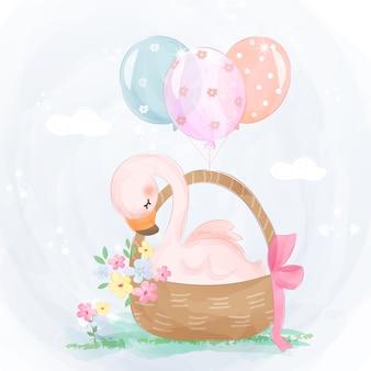 Милый розовый гусь в корзине