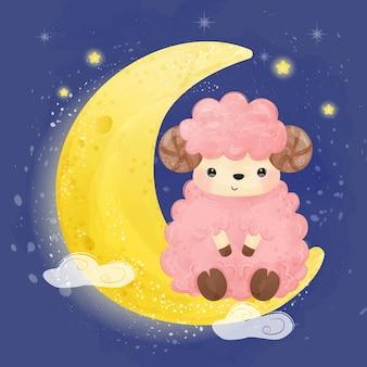 Милая розовая иллюстрация овечки младенца, иллюстрация акварели.
