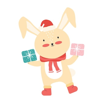 大きなギフトボックスとサンタの帽子のかわいいピンクの赤ちゃんウサギ。分離された面白い漫画の動物