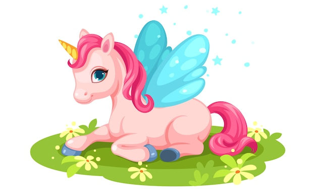 Cute pink baby unicorn character