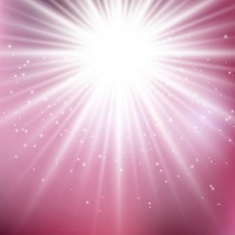 빛의 광선으로 귀여운 분홍색 배경