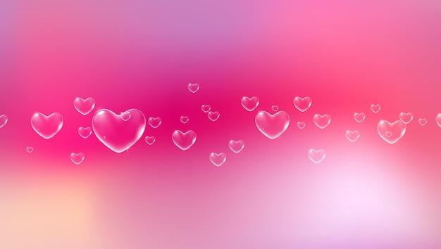 バレンタインカードベクトルの白いハート型のシャボン玉とかわいいピンクの背景