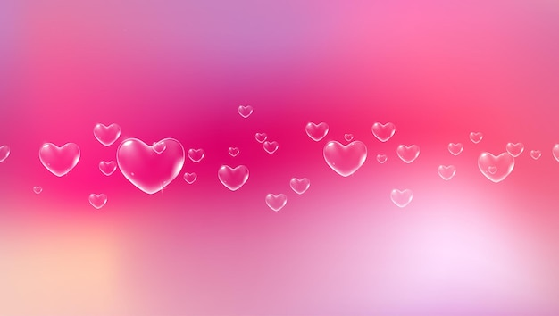 Cute pink background with white heartshaped soap bubbles for valentine card vector