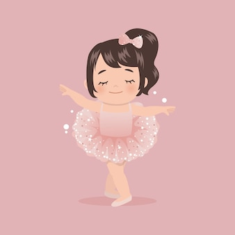 Cute pink ballerina girl dancing with tutu glitter dress. flat  isolated.