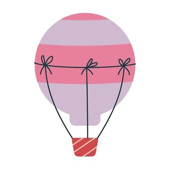 かわいいピンクの風船輸送。子供のためのベクトル印刷。空を飛ぶ。保育園や版画のミニマリズム。分離されたベビーアートクリップアート