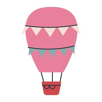 旗が付いているかわいいピンクの気球輸送。子供のためのベクトル印刷。空を飛ぶ。保育園やプリントのミニマリズム。分離された幼稚なアートクリップアート