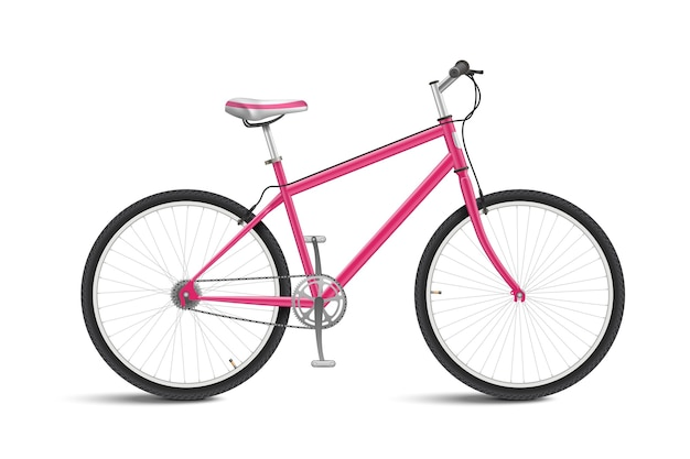 Cute pink bicycle isolated