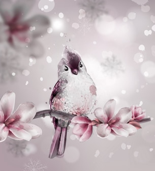 Cute pink bird on a branch with magnolia flowers