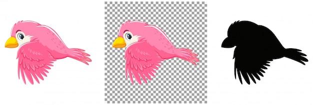 Cute pink bird cartoon character