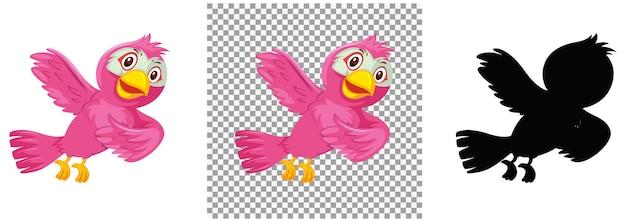 Симпатичная розовая птица мультипликационный персонаж