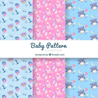 Cute pink and blue baby pattern collection