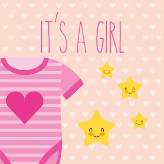 Cute pink bodysuit and stars its a girl card