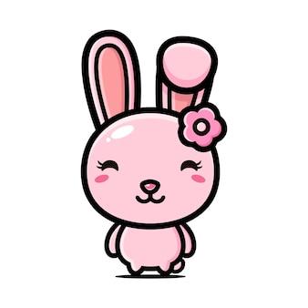 꽃 액세서리와 함께 귀여운 핑크 토끼