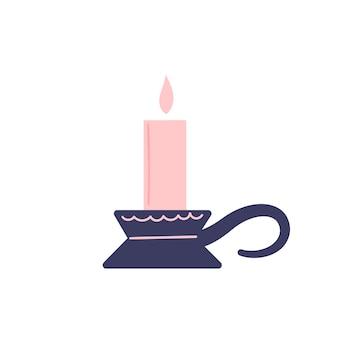 흰색 바탕에 귀여운 분홍색 촛불입니다. 마술, 요술, 낭만적 인 데이트, 사랑, 축하. 손으로 그린된 벡터 고립 된 단일 그림입니다.
