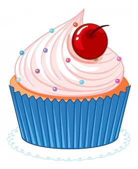 Cute pink cartoon cupcake