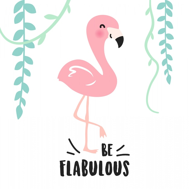 Cute pink cartoon flamingo design