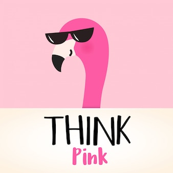 Cute pink cartoon flamingo with quote