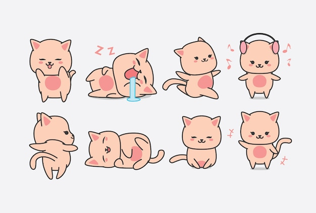 Cute pink cat character   sticker with multiple expressions