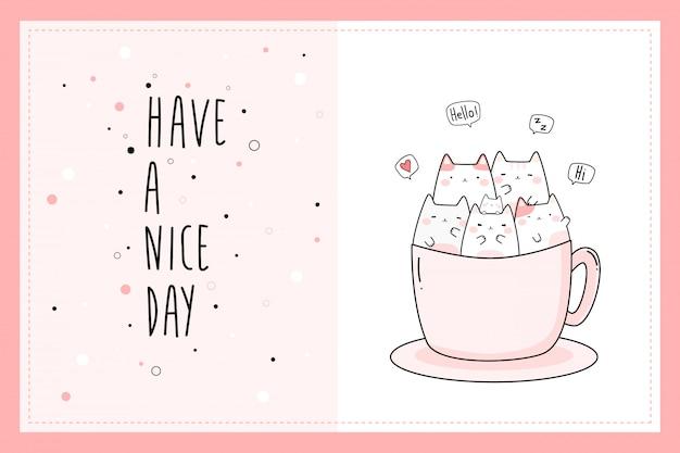 Cute pink cat kitten cartoon doodle card template