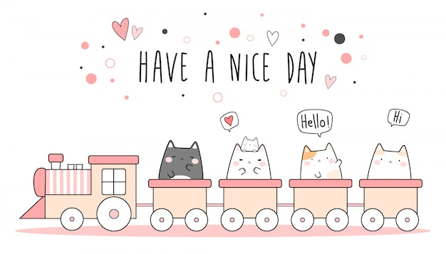 Cute pink cat kitten riding train cartoon doodle wallpaper