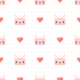 Cute pink cat kitten with heart and dot seamless pattern
