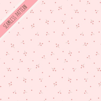 Cute pink cherries seamless pattern  .