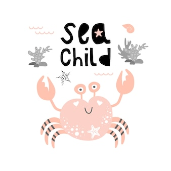 Cute pink crab