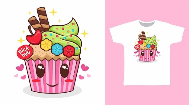 かわいいピンクのカップケーキ漫画のtシャツのデザイン