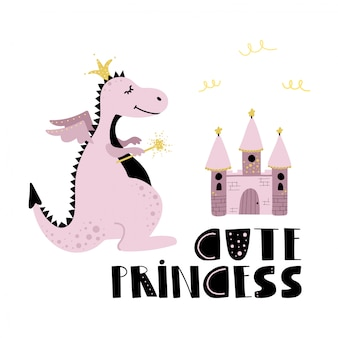 Cute pink dragon princess and castle.