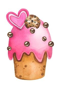 かわいいピンクのイースターカップケーキ手描き水彩画。ペストリー菓子。