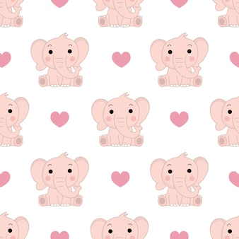 Cute pink elephant and hearts seamless pattern.