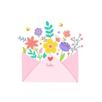 Милый розовый конверт с цветами