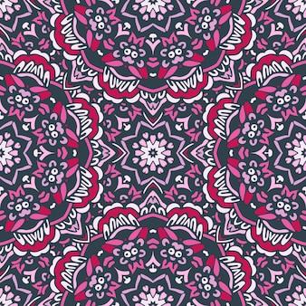 かわいいピンクのエスニックお祭り抽象的な花のベクトルの装飾的な背景