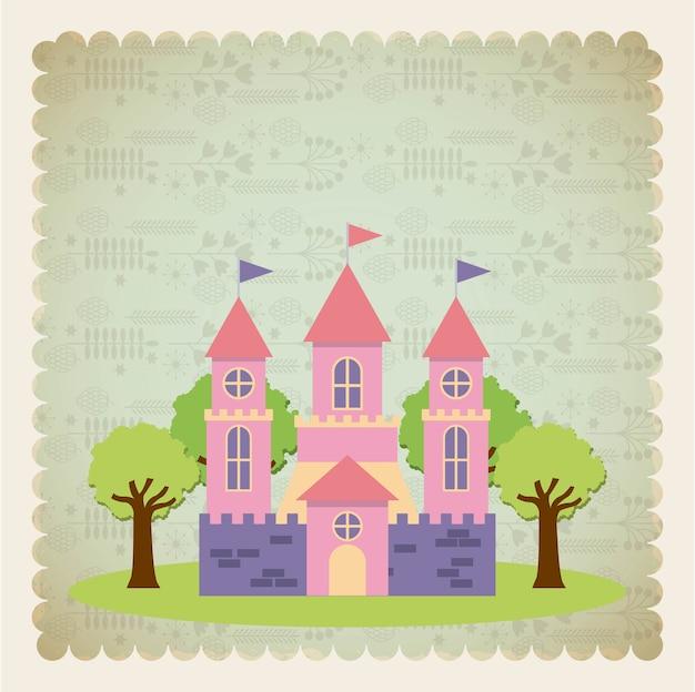 Милый розовый фантазийный замок
