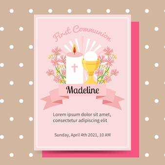 Cute pink first communion baptism invitation for kids girl. flat invitation template.