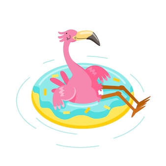 Cute pink flamingo float inflatable ring
