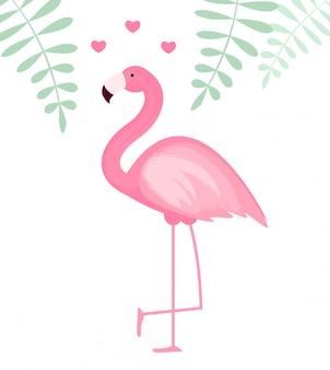 Cute pink flamingo icon  illustration